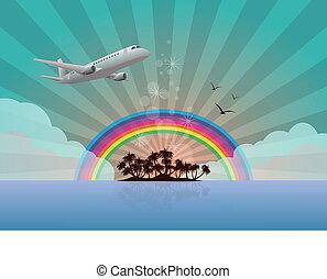 ilha, arco íris