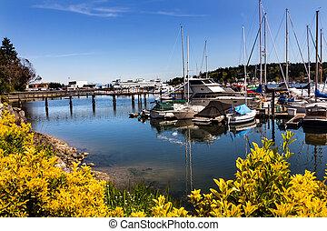 ilha bainbridge, porto, som puget, estado washington