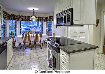 ilha, branca, cozinha