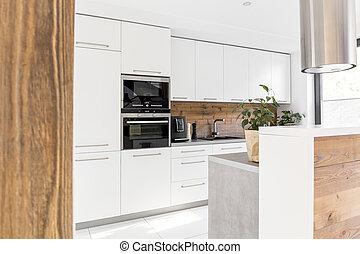 ilha, branca, modernos, cozinha