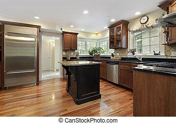 ilha, cozinha, pretas, granito