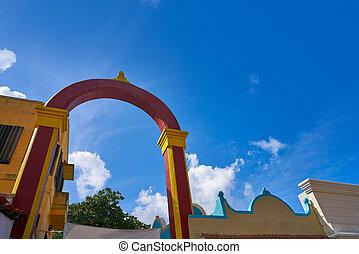ilha, cozumel, mayan, arco, méxico