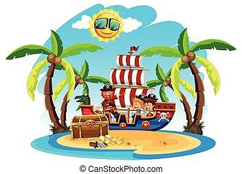ilha, crianças, pirata
