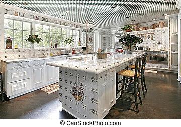 ilha, desenho, cozinha