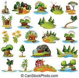 ilha, diferente, jogo, cenas