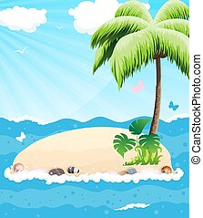 ilha, em, a, oceânicos
