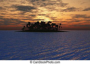 ilha, em, pôr do sol