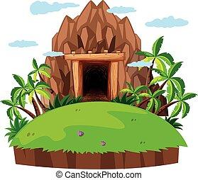 ilha, entrada, mina