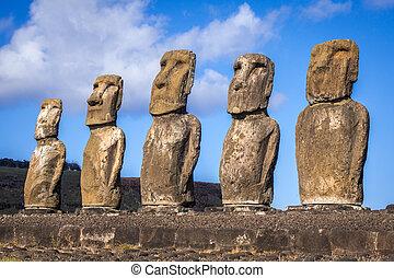 ilha, estátuas, moais, ahu tongariki, páscoa