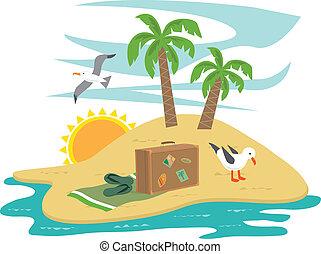 ilha, férias