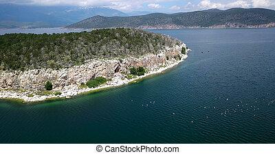 ilha, golem, grad, em, um, lago, prespa