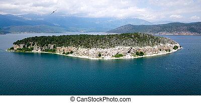ilha, golem, grad, lago, prespa, vista aérea