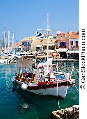 ilha grega, porto, vila, fiscardo, kefalonia, grécia
