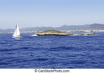 ilha ibiza, azul, mediterrâneo, seascape