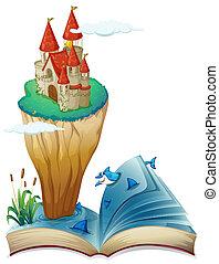 ilha, imagem, livro, castelo