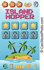 ilha, jogo, hopper, modelo