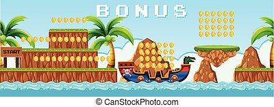 ilha, jogo, pirata, cena