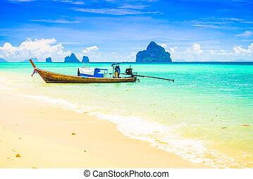 ilha, kradan, tailed longo, tailandia, bote