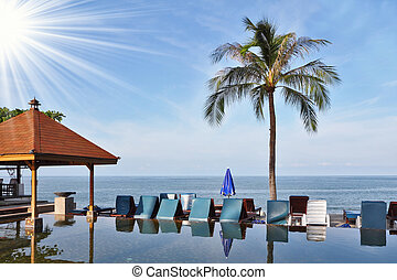 ilha, mármore, piscina