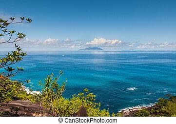 ilha mahe, litoral, vista, seychelles