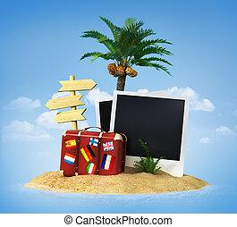 ilha, mala, árvore tropical, palma, lounge, chaise, deserto