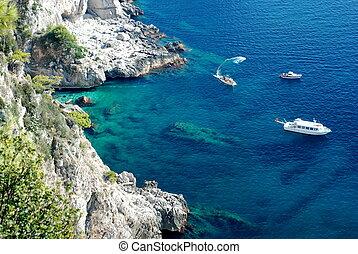 ilha, mar, capri, azure