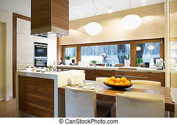 ilha, modernos, cozinha