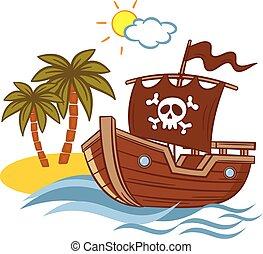 ilha, navio, deserto, pirata