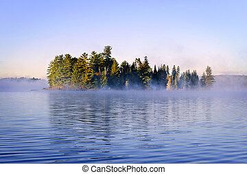 ilha, nevoeiro, lago, manhã