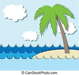ilha, palma, papel, árvore