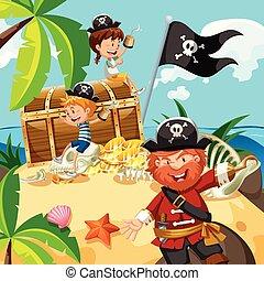 ilha, peito, crianças, pirata, tesouro