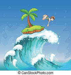 ilha pequena, menina, mar, mergulhar