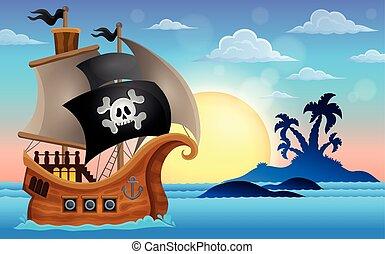 ilha pequena, navio, pirata