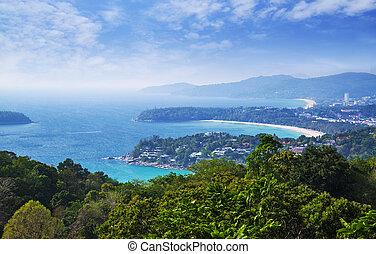 ilha phuket, ponto, tailandia, sul, vista