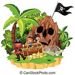 ilha, pirata, crianças