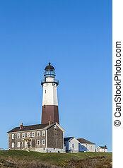 ilha, ponto, luz, município suffolk, longo, montauk, nova iorque, farol