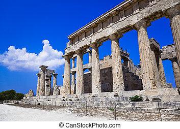 ilha, ruínas,  aegina, Templo, Grécia