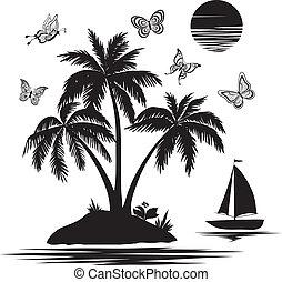 ilha, silhuetas, borboletas, navio, palma