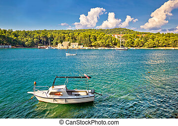 ilha, stari, hvar, waterfront, grad, vista