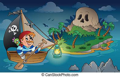 ilha, tema, 2, pirata, cranio