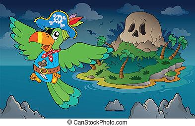 ilha, tema, 4, cranio, pirata