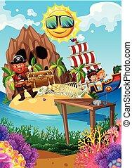 ilha, tesouro, pirata