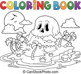 ilha, tinja livro, cranio, pirata