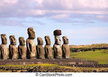 ilha, tongariki, moai, ahu