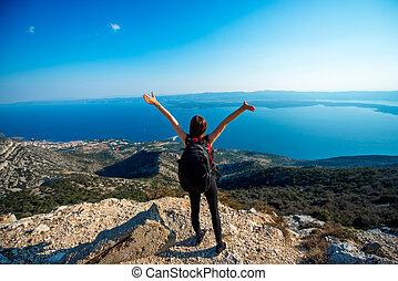 ilha, topo, mulher, viajando