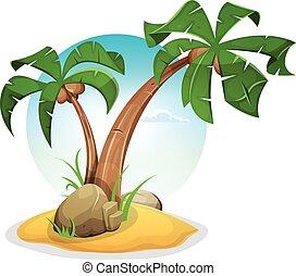 ilha tropical, coqueiros