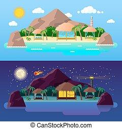 ilha tropical, paisagem, com, montanhas, e, bungalows, praia, em, dia, e, night., vetorial, fundo