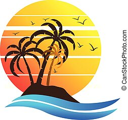 ilha tropical, paraisos , logotipo