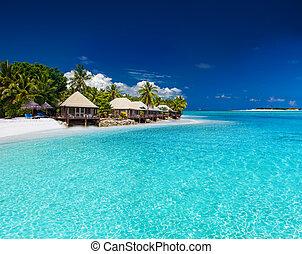 ilha tropical, pequeno, praia, vilas