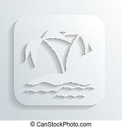 ilha, vetorial, ícone